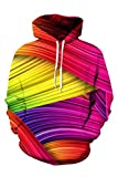 Mens Cute Colorful Striped Print Hip Hop Style Pullover Hoodie XL