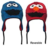 Sesame Street Cookie Monster & Elmo Reversible Red & Blue LAPLANDER Adult Hat