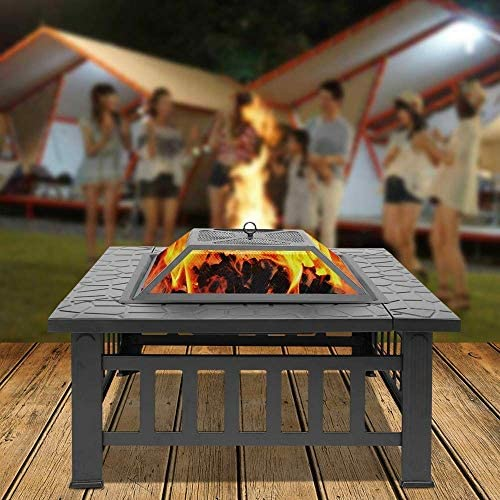 """KJRJB Brasier extérieur 32"""" de métal for firepit Patio Cheminée à bois Place Poêle Jardin avec rack charbon, Poker & Mesh for Camping pique-nique Bonfire"""