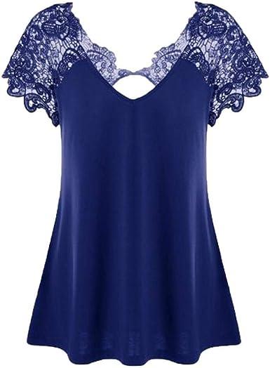 Tops Mujer Fashion V-Cuello Splice Verano Encaje Camisas ...
