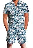 Goodstoworld Jumpsuit for Men 3D Hawaiian Plam Tree Design Zip up Romper Hip Hop T Shirt Cargo Shorts Summer Onesies Overall XL