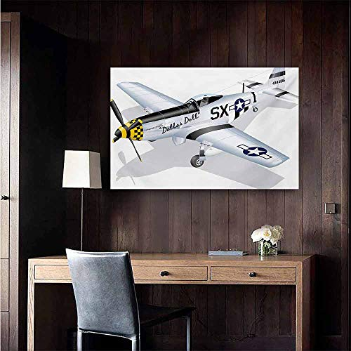 duommhome Vintage Airplane Wall Art Decor Poster Painting P-51 Dallas Doll Detailed Illustration American Air Force Classic Plane Decorations Home Decor 24