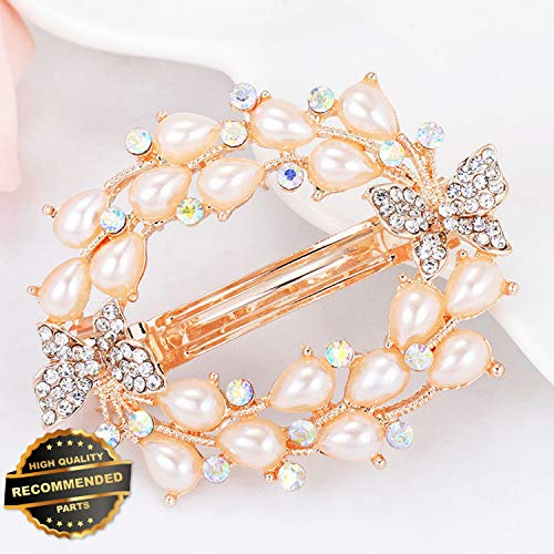 Bejeweled Slide (Gatton Premium New 1 PC Women Crystal Flower Barrette Hair Clip Clamp Hairpin Trendy Hair Accessory | Style HRCL-M182012436)