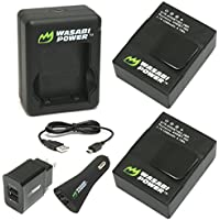 Wasabi Power Battery (2-Pack) and New Dual Charger for GoPro Hero3, Hero3+ (with Car and US Plug)