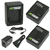 Wasabi Power Battery (2-Pack) and Dual Charger for GoPro Hero3 - Hero3+ and GoPro AHDBT-201 - AHDBT-301 - AHDBT-302 - AHBBP-301 - ACARC-001 - AWALC-001 (with Car and US Plug)