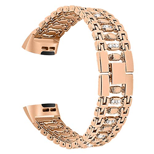 Kybers Compatible for Fitbit Charge 3 - Luxury Bling Stainless Steel Rhinestones Bracelet Metal Chain Band Replacement Watch Band- Shiny Gift for Mother's Day/Birthday/Valentine's Day ()