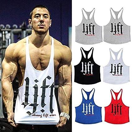29e19b6b340931 Amazon.com  Wpch Men Tank Top Thin Strap Fitness Men Body Bodybuilding  Stringer Singlets Suit T-Shirt Cotton Shirt Black L  Home   Kitchen