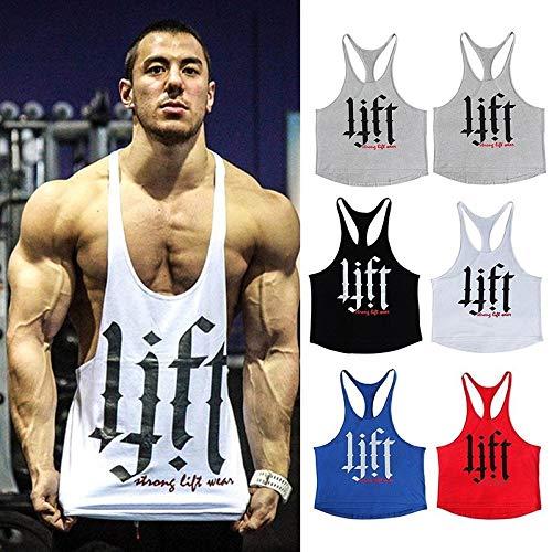 Wpch Men Tank Top Thin Strap Fitness Men Body Bodybuilding Stringer Singlets Suit T-Shirt Cotton Shirt Black L