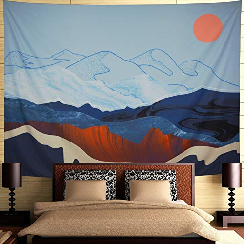 Ameyahud Mountain Tapestry Misty Cloud and Sun Tapestry Blue Mountain Nature Landscape Wall Tapestry Abstract Watercolor Sunset Tapestry Wall Hanging for Living Room Wall Decor