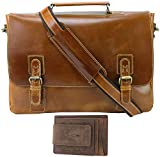 Viosi Leather Messenger Bag for Men, Shoulder Bag Straps Included, Quality Briefcases for Men Holds 17 inch Laptop, Both Leather Money Clip/Wallet and Leather Computer Bag Have RFID Protection
