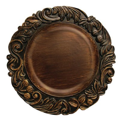 The Jay Companies Aristocrat Round Charger Plate, Brown