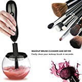 Makeup Brush Cleaner - Deep Clean and Dry All Size Makeup Brushes 360 Degree Rotation with 8 Rubber Collars In Seconds (Black)