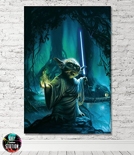Star Wars Yoda Movie Box Framed Canvas Print - Wall Art - Ready To Hang
