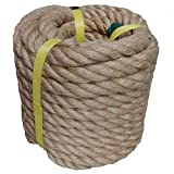zhitao 100% Natural Jute Rope Twisted Hemp Rope Brown Natural Rope(50 ft 1 inch) for Craft, Dock, Decorative Landscaping, Climbing, Tree Hanging Swing, Gardening,tug of war Rope.
