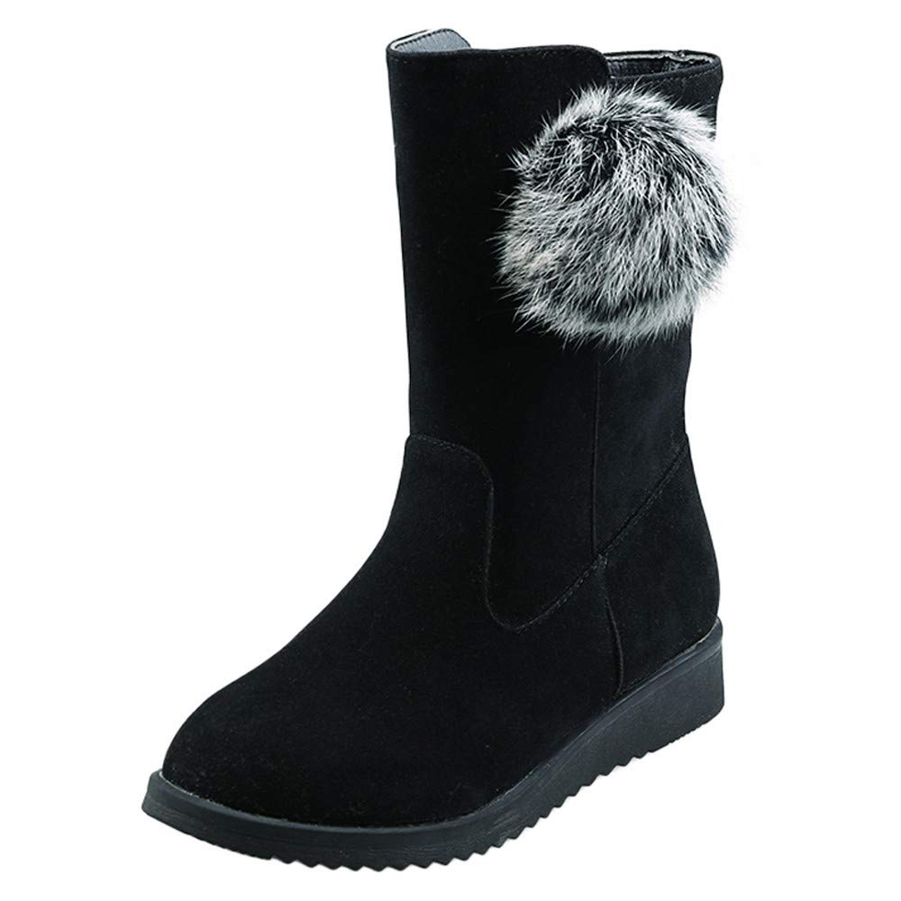 ZODOF Botas de Nieve para Mujer Zapatos Planos para Mujer Botas de Nieve para Bolas de Pelo Botas de Gamuza con Cremallera Punta Redonda Mantenga la Bota Caliente