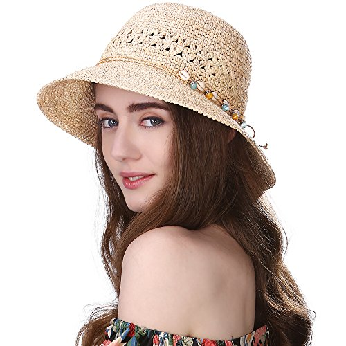 Siggi Womens 100% Raffia Straw Crochet Hat Foldable UPF Summer Beach Sun Hats 56-58CM Beige (Raffia Crochet Hat)
