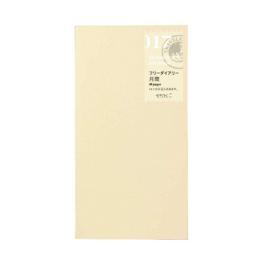 1 X Midori Traveler's Notebook (refill 017) Monthly Diary