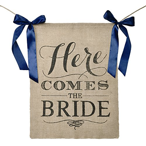 Vsolucky Here Comes The Bride Sign Burlap Banner with Navy Blue Ribbons Wedding Ceremony Flag Rustic Theme ,15 x 20 (Here Comes The Bride Burlap Sign)