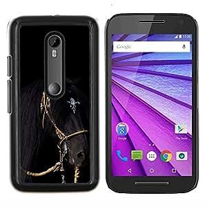 TECHCASE---Cubierta de la caja de protección para la piel dura ** Motorola MOTO G3 ( 3nd Generation ) ** --caballo galope negro arnés semental melena