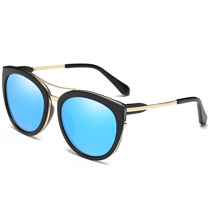28eb7b4f9e Polarized Sunglasses for Women UV400 Protection Cat Eye Sunglasses Mirrored  Lenses (blue lens)