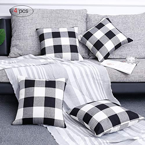 Volcanics Buffalo Check Plaid Throw Pillow Covers Set of 4 Farmhouse Decorative Square Pillow Cover Case Cushion Pillowcase 18x18 Inches for Home Decor Sofa Bedroom Car (Decorative Covers Square Pillow)
