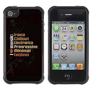 Planetar® ( I Live Music ) Apple iPhone 4 / 4S Hybrid Heavy Duty Shockproof TPU Fundas Cover Cubre Case
