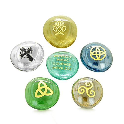 Inspirational Amulets Protection Ancient Celtic Good Luck Glass Engraved (Luck Stone)