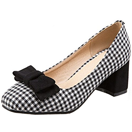 Court Heel Block Black Slip TAOFFEN On With Classical Bow Women Mid Shoes nU0wq61qH