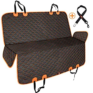 Manificent Dog Car Seat Covers, Nonslip Pet Seat Cover, Hammock 600D Heavy Duty Waterproof Scratch Proof Dog Seat Covers Fits Most Cars, Trucks, SUVs (Black with Orange Edge)