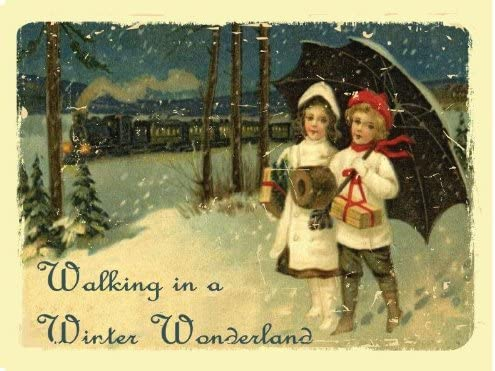 Walking in a Winter Wonderland Merry Christmas Holiday Jolly Snow Metal Sign