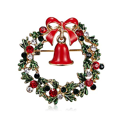 AILUOR Christmas Brooch Pin Set, 12pcs Women Girl Cute Crystal Enamel Christmas Jewelry with Red Reindeer White Candy Cane Christmas Tree Wreath Snowman Santa Stocking Gift Box Pins Set (Wreath)