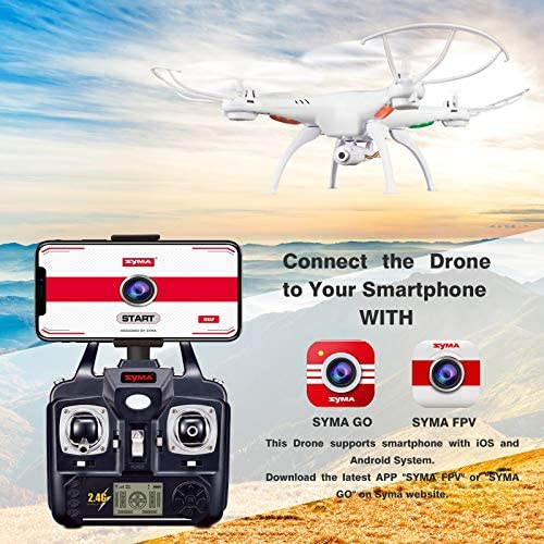 Cheerwing Syma X5SW-V3 WiFi FPV Drone 2.4Ghz 4CH 6-Axis Gyro RC Quadcopter Drone with Camera, White (Renewed) 51xPe1jp5XL
