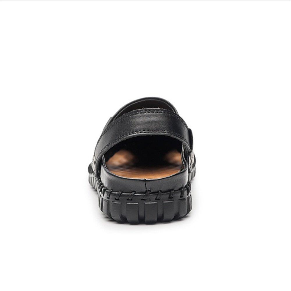 Wangcui Sommer-beiläufige Lederne Breathable und Anti-Schleuderschuhe (Farbe der Sandelholz-Männer (24.0-27.5) cm (Farbe Anti-Schleuderschuhe : Rot, Größe : 41 1/3 EU) Schwarz 0b03ac