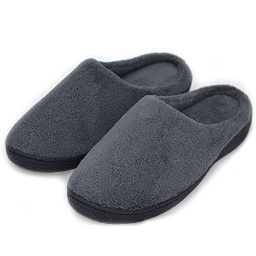 Menns Myk Fleece Tøfler Minne Skum Plysj Fôr Slip-on Huset Sko M / Anti ...