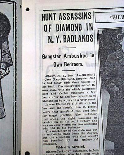 JACK 'LEGS' DIAMOND Gangster Mob Mafia MURDER Prohibition Era 1931 Old Newspaper CHICAGO DAILY TRIBUNE, Dec. 19, 1931 ()