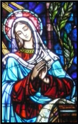 Virgin Mary with Palm Leaves - Etched Vinyl Stained Glass Film, Static Cling Window Decal