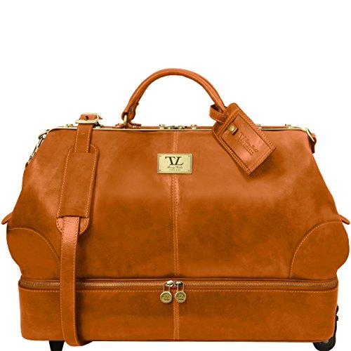 Tuscany Leather Siviglia Two wheeles double-bottom Gladstone leather bag Honey by Tuscany Leather