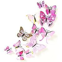 12 Stickers Muraux de Papillons 3D Sticker Mural Autocollants Bricolage Papillon Amovible Réutilisable pour Chambre Salon