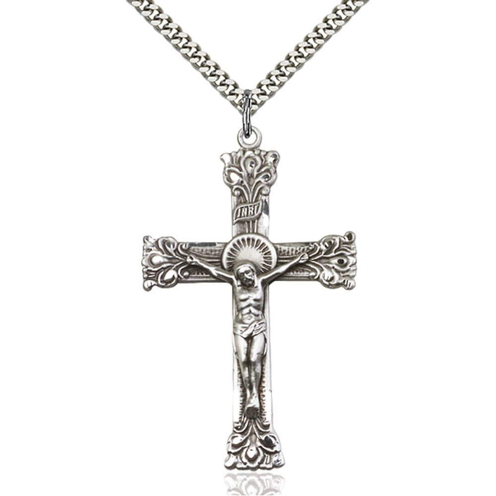 Sterling Silver Crucifix Pendant 2 x 1 1/4 inches with Heavy Curb Chain Bliss Manufacturing 0641SS/24S