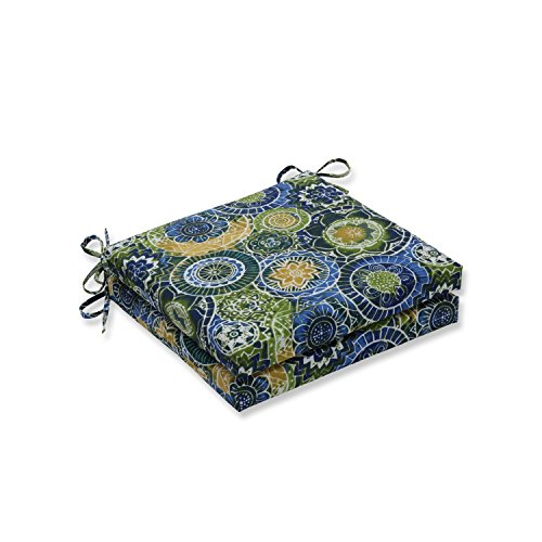 Pillow Perfect Outdoor/Indoor Omnia Lagoon Squared Corners Seat Cushion 20x20x3 (Set of 2)