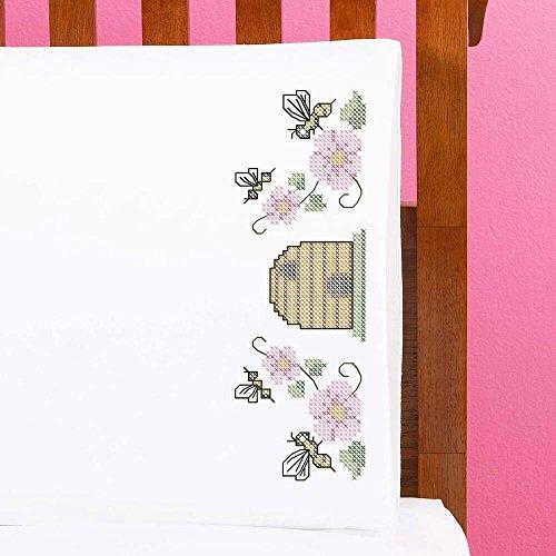 honeybee pillowcase pair stamped cross