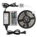 WenTop Led Strip Lights Kit DC12V UL Listed Power Supply Waterproof SMD 5050 16.4 Ft (5M) 300leds RGB 60leds/m with 44key Ir Remote Controller for Kicthen Bedroom Sitting Room and Outdoor