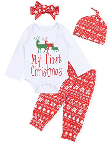 Onesies Baby Newborn Clothes Jumpsuit Suit Christmas Long Sleeve Bodysuits 100% Cotton 4 Piece Set 0-12Months
