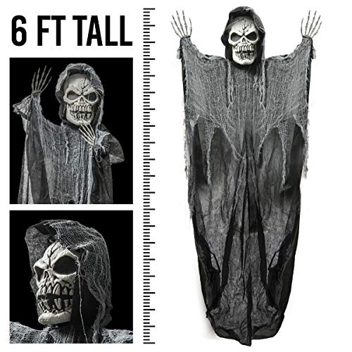 Prextex 6 Feet Hanging Grim Reaper Skull Best Halloween Decoration -