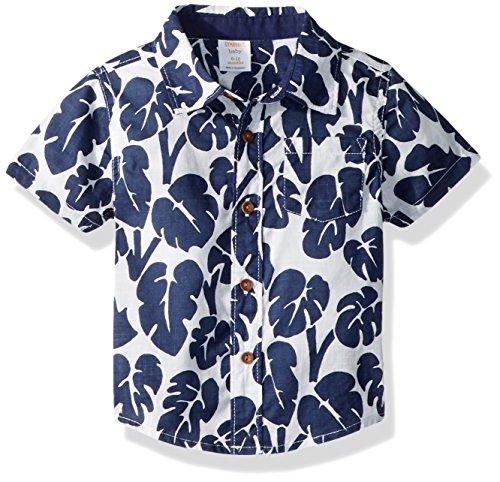Gymboree Baby Boys Short Sleeve Printed Button Down Woven Shirt, Gym Navy Palm 6-12 mo