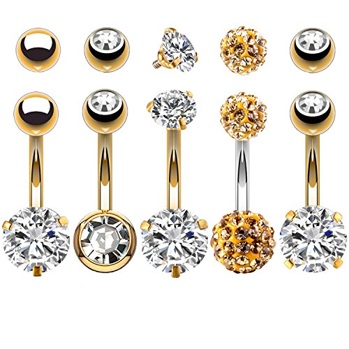 BodyJ4You 5PCS Belly Button Rings 14G Goldtone Stainless Steel CZ Navel Body Piercing Jewelry (Gold Ball Belly Ring)
