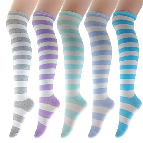 Zmart 5 Pack Women Girls Stylish Colorful Fresh Striped Cotton Over the Knee Socks (Pink Heart Socks White)