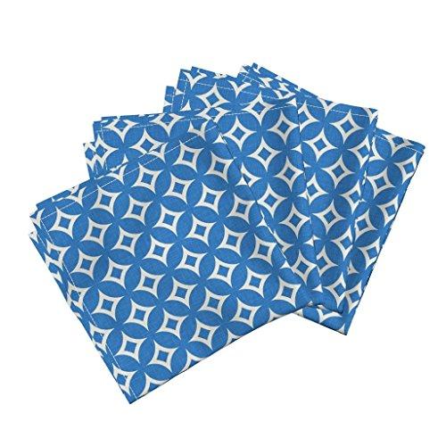 Sunburst Star - Roostery Blue Linen Star Sunburst White Abstract Linen Cotton Dinner Napkins Diamond_Circles_Blue by Holli Zollinger Set of 4 Dinner Napkins