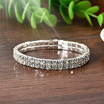 ae9c82a8ba9 Image Unavailable. Image not available for. Color: Werrox Elastic Crystal  Rhinestone Bangle Wristband Bracelet Stretch Wedding ...