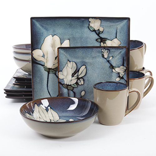 Gibson Elite Bloomsbury 16 Piece Dinnerware Set, Blue Flower